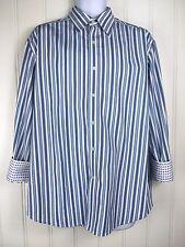 Robert Graham XL Shirt White Blue Button Front Flip Cuff Stripe