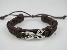 Leather Strap & Cord Wristband Bracelet Scissor Motif - Barber Hair Stylist Gift