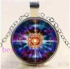 Heart Sacred Geometry Cabochon Glass Tibet Silver Chain Pendant Necklace
