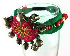 Bangle Braclet Cuff Rockabilly Belly Dancer Pink Green Wood Beads Gypsy Kuchi