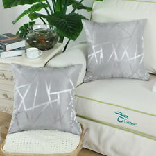 Set of 2 Cushion Covers Pillow Cases Cover Triangles Geometric 45x45 Silver
