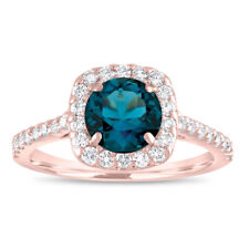 London Blue Topaz Engagement Ring Rose Gold, With Diamonds Halo 1.58 Carat