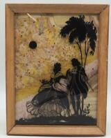 Vintage Reverse Painting Silhouette Courting Couple Bubble Glass 6x8