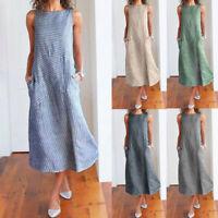 Women Casual Striped Sleeveless Dress Crew Neck Cotton Linen Pocket Long Sundres