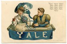Yale University College Girl & Boy Spirit Postcard Signed Christy