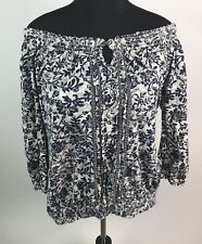 Lucky Brand Womens Off The Shoulder Blouse Boho Floral Blue Gray  XL 34