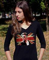 David Bowie 2 Lady 3/4 Sleeve Black T-shirt Rock Band Tee