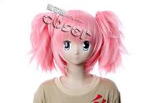 W-186 Puella Magi Madoka Magica Cosplay Perruque Wig Lolita tresse rose pink 3-tlg