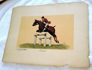 """""""The Hurdle"""" by Francisque Rebour Equestrian Horse Colored Print"""
