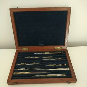 Antique Boxed Draughtsmans Technical Engineering Drawing Instrument Set