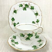 Vintage Teacup and Saucer Trio Set Colclough Ivy Leaf Green White China