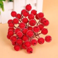5 Bunch 200pcs Mini Berry Christmas Frosted Artificial Flower Home Decor Red