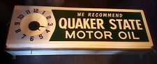 Vintage 6' Quaker State Motor Oil Clock Sign - illuminated light up - Rare !