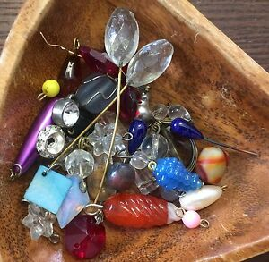 Vintage Glass & Lucite Mixed Drops Dangles Charms Findings Mega Fun Bead Lot