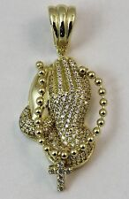 """Prayer Hands Cross CZ Solid Pendant. 14k Gold plated over Sterling Silver. 1.5"""""""