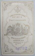 CDV Lady Hat + Gloves + Umbrella - Masonic Photographer F Cole London 1870/80s