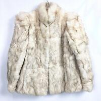 Vintage Womens Medium Rabbit Fur Coat Hong Kong Dyed Off White Jacket Size M