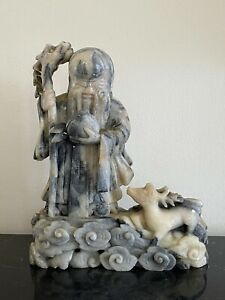 Vintage Chinese Shou Xin Gong Longevity God with Deer Carved Soapstone Sculpture