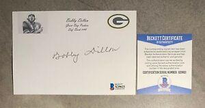 Bobby Dillon Signed 4x6 Index Card Cut Beckett BAS COA Green Bay Packers HOF