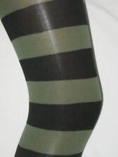 Thick Opaque Olive Green & Black Stripe Ladies Tights. Stripy Opaque TALL goth