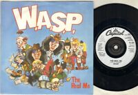 """WASP The Real Me 7"""" Silver Plastic Label Issue In Thin Paper Picture Sleeve, B/W"""