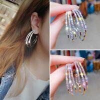 Fashion Geometric Crystal Rhinestone Hoop Earrings Women Circle Wedding Jewelry