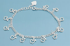 Adorable Bracelet with Apple Charms Sterling Silver 925 Jewelry Gift 8 inches