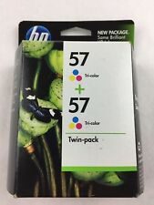 Genuine HP 57 Tri-Color Ink Cartridges Twin-Pack New Sealed Best By Aug 2011