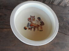 Antique Baby Dish China Avco Children High Chair Vintage Farmhouse USA Vitreous