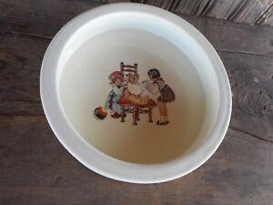 Antique Baby Dish China Avco Children High Chair Vintage Farmhouse USA Vitreous