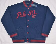 New XL POLO RALPH LAUREN Mens fleece baseball varsity jacket Navy blue base ball