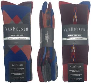 Van Heusen Dress Socks 3 Pairs + 1 Bonus Checks Diamond Shoe Sz 6-12.5 Wine Blue