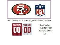 NFL San Francisco 49ers Jersey Kit Custom Lettering ANY YEAR Name Number UNSEWN