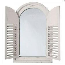 Fenster Holz +Spiegel 2 Klappen Antik Geschenk Rustikal Design hell Badzubehör