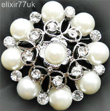 NEW CRYSTAL SILVER BROOCH PINS LARGE VINTAGE PEARL BRIDAL WEDDING MOTHER COSTUME