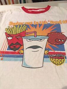 Aqua Teen Hunger Force T Shirt Swim Mens Sz Med Adult Swim White Tee W/trim
