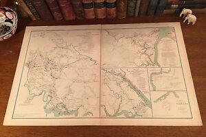 Large Original Antique Civil War Map YORKTOWN Williamsburg HARRISON Virginia VA