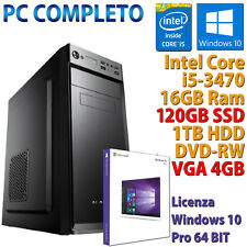 PC COMPUTER DESKTOP GAMING CORE i5-3470 16GB SSD 120GB HDD 1TB DVD-RW RX 550 4GB