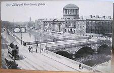 Irish Postcard RIVER LIFFEY & FOUR COURTS Dublin Ireland JV Litho W British Made