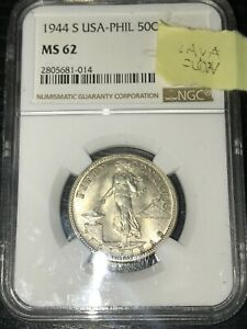Philippines USPI 1944-S 50 Centavos Silver Coin - NGC MS62 (Lava Flow Variety)