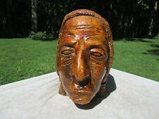 Vintage Handmade Pottery Bust of Native American Indian