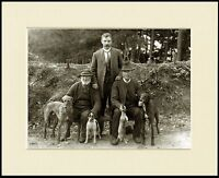 LURCHER GREYHOUND MEN DOGS HUNTING GREAT PHOTO PRINT MOUNTED READY TO FRAME