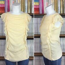 BIMBA Y LOLA top blouse shirt lace frill pale yellow S UK 10 US 6