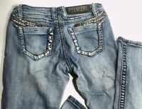 Rue 21 Premiere Womens Embellished Boot Cut Blue Denim Jeans Size 3/4 EUC