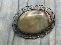 Vintage Brooch Silver Tone Filigree Openwork Green Oval Pin Costume Jewellery