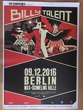 BILLY TALENT  2016  BERLIN ++ orig.Concert Poster -- Konzert Plakat  A1 NEU