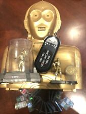 Lot C3PO case with Statues and 28 Toys inside Plus Comm Tech Reader And Chips