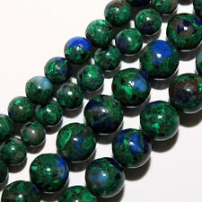 AZURITE ROUND BEADS BLUE GREEN COLOR MIXES 4MM STONE BEAD STRAND S86