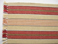 """13"""" x 72"""" PROVIDENCE STRIPE Table Runner Soft Red & Tan with Fringed Edges"""