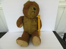 Vintage (1940's ?) Straw Filled Large Teddy Bear w/ Rotating Head / Joints